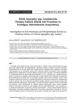 Klinik Aspergillus spp. İzolatlarında Virülans Faktörü Olarak Asit