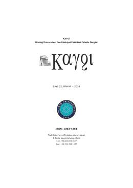 KAYGI Uludağ Üniversitesi Fen Edebiyat Fakültesi Felsefe Dergisi