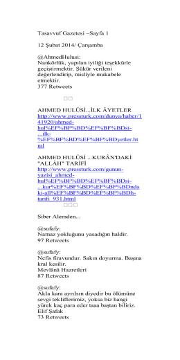 Tasavvuf Gazetesi ~Sayfa 1 12 Şubat 2014