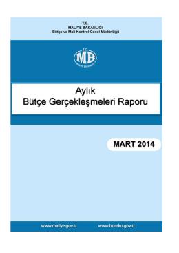 2014 Mart Ayı Merkezi Yönetim Bütçe Gerçeklesmeleri Raporu