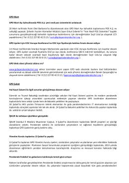 GPD 2014 Mart Ayı Bülteni - Gıda Perakendecileri Derneği