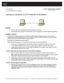 Laboratuvar Çalışması 3.5.2 IP Adresleri ve Ağ İletişimi