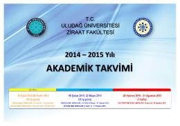 Akademik Takvim - Uludağ Üniversitesi Ziraat Fakültesi