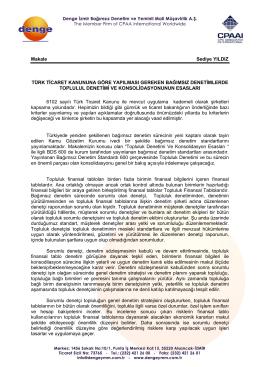 Türk Ticaret Kanununa Göre Yapılması Gereken Bağımsız