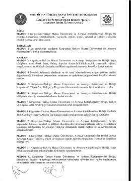 AMAÇ MADDE 1 Kırgızistan-Türkiye Manas Üniversitesi ve Avrasya