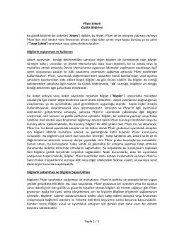 Sayfa 1 / 2 Pfizer Anketi Gizlilik Bildirimi Bu gizlilik bildirimi bir