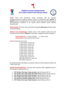 türkiye yelken federasyonu 2014 pirat rank puanı hesaplaması