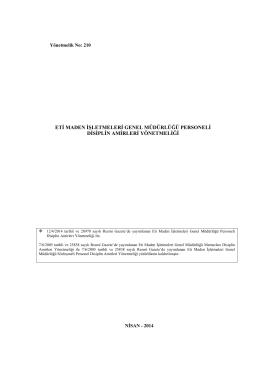 Eti Maden İşletmeleri Genel Müdürlüğü Personeli Disiplin Amirleri