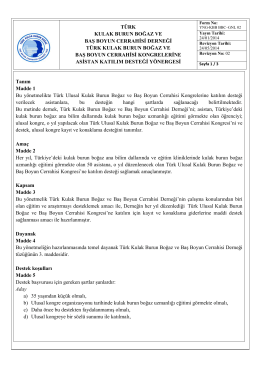 Asistan Destek Yönergesi - 36. Türk Ulusal Kulak Burun Boğaz ve