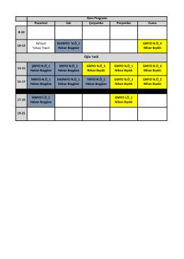 Pazartesi Salı Çarşamba Perşembe Cuma 8-10 10