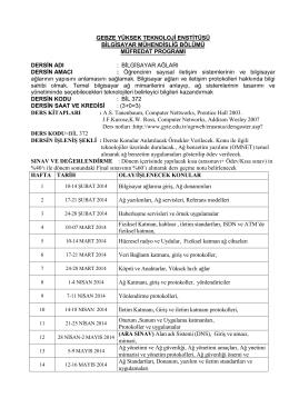 müfredat programı uygulama emr - Gebze Yüksek Teknoloji Enstitüsü