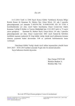 İ L A N 14.11.2014 Tarih ve 2368 Sayılı Konya Kültür Varlıklarını