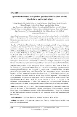 PC–014 spirulina ekstresi ve fikosiyaninin çeşitli kanser hücreleri