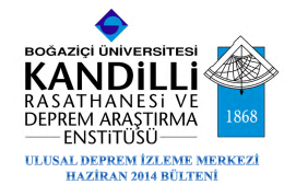 Haziran - Kandilli Rasathanesi ve Deprem Araştırma Enstitüsü