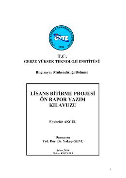 Lisans Bitirme Projesi Raporu Yazim Kilavuzu