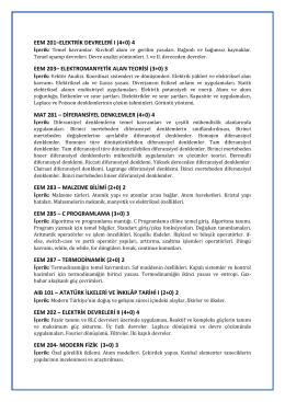 2. Sınıf Ders İçerikleri (PDF) - Elektrik