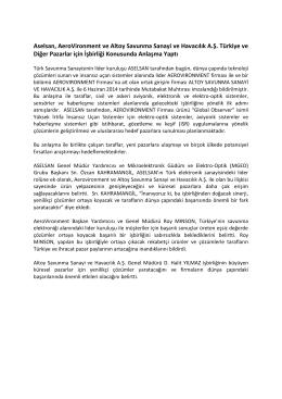 Aselsan, AeroVironment ve Altoy Türkiye ve Diğer Pazarlar için