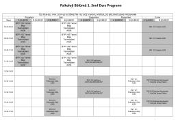 2014-2015 Güz Dönemi Psikoloji Bölümü Ders Programı