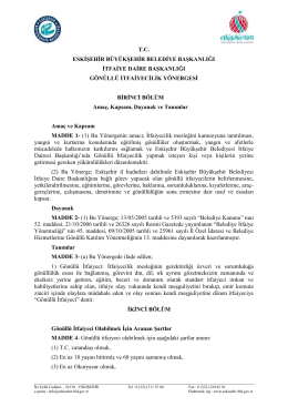 Gönüllü İtfaiye Yönergesi - Eskişehir Büyükşehir Belediyesi