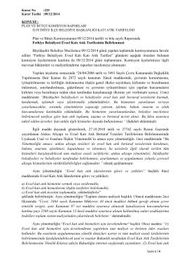 Plan ve Bütçe Komisyonunun 09/12/2014 tarihli
