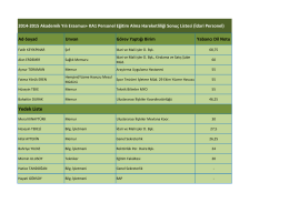 Yedek Liste 2 - Erasmus Kurum Koordinatörlüğü