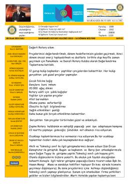 28 Ocak 2014 Marmaris Rotary Kulübü Bülteni