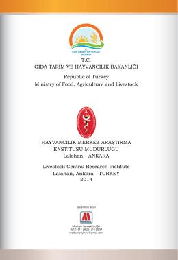 T.C. GIDA TARIM VE HAYVANCILIK BAKANLIĞI Republic of Turkey