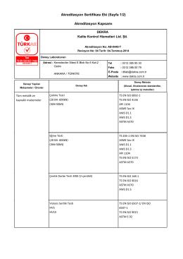 Akreditasyon Sertifikası Eki (Sayfa 1/2) Akreditasyon Kapsamı