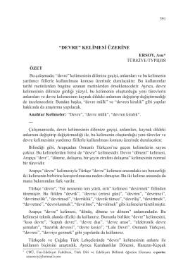 ERSOY, Asu-DEVRE KELİMESİ ÜZERİNE