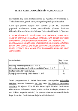 2014-2015 GÜZ BOŞ KALAN KONTENJANLARA İLİŞKİN