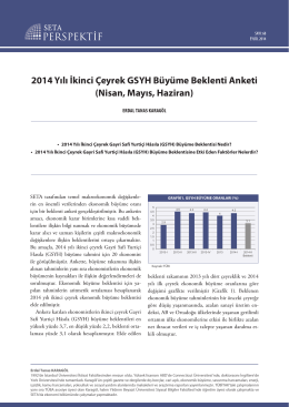 2014 Yılı İkinci Çeyrek GSYH Büyüme Beklenti Anketi (Nisan