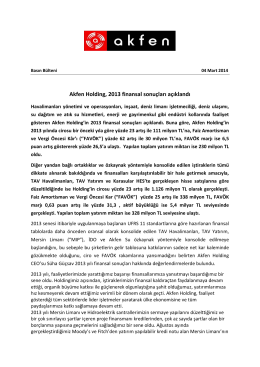 Akfen Holding, 2013 finansal sonuçları açıklandı