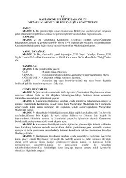 t.c. kastamonu belediye başkanlığı mezarlıklar müdürlüğü kuruluş