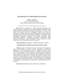 Schumpeter Ve Yeniliklerin Finansmanı