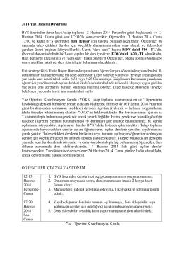 2014 Yaz Dönemi Duyurusu BYS üzerinden derse kayıt/talep