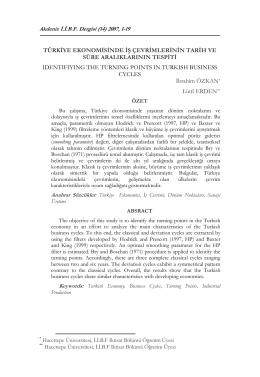 türkiye ekonomisinde iş çevrimlerinin tarih ve süre