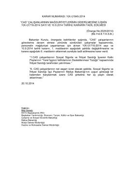 """KARAR NUMARASI: Y(K-I)1945-2014 """"CAS"""" ÇALIŞANLARININ"""