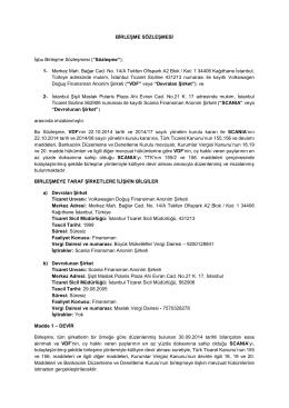 Scania Finans Birleşme Sözleşmesi
