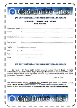 17 mayıs 2014 / adana çağ üniversitesi altın kodlar s
