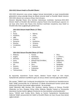 2014-2015 DÖNEMİ HEDEF VE ÖNCELİKLİ ÜLKELERİ