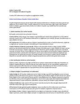 Adobe Creative SDK API ve Geliştirici Ek Kullanım Koşulları