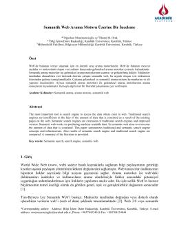 Semantik Web Arama Motoru Üzerine Bir İnceleme