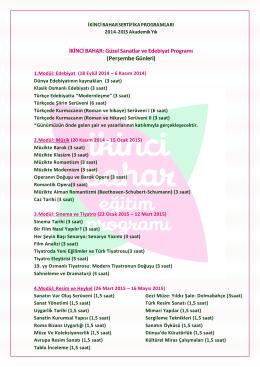 İKİNCİ BAHAR: Güzel Sanatlar ve Edebiyat Programı (Perşembe