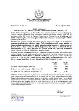 Lefkoşa, 6 Şubat 2014 BÖ/CK - KKTC Devlet Planlama Örgütü