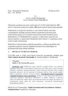 Konu :Hemodiyaliz Merkezleri 05 Haziran 2014 Sayı : 631