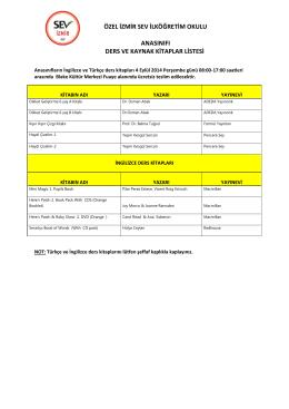 özel izmir sev ilköğretim okulu anasınıfı ders ve kaynak kitaplar listesi