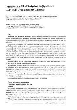 Postmortem Alkol Seviyeleri Değişiklikleri (+4° C de