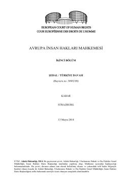13 Mayıs 2014 tarihli Şedal v. Türkiye Başvurusu