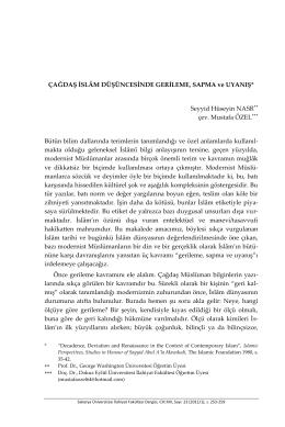 Seyyid Huseyin Nasr, Çağdaş İslâm Düşüncesinde Gerileme