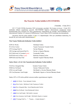 Dış Ticarette Teslim Şekilleri (INCOTERMS)